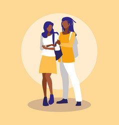 Young black couple modeling with handbags vector
