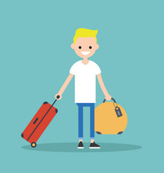 young blond boy travelling with his luggage flat vector image