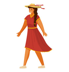 young long-haired tanned girl in red dress wide vector image