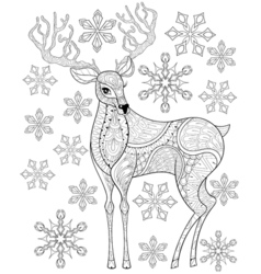 zentangle Christmas Reindeer on snowflakes for vector image