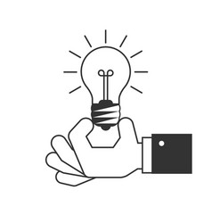 hand holding a light bulb icon vector image