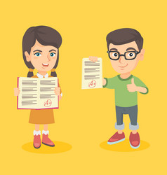 pupils holding a sheets with the highest mark vector image vector image