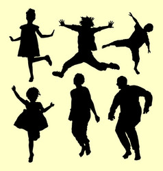 teenager and old people jumping silhouette vector image vector image
