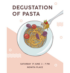 flyer template with plate of appetizing spaghetti vector image