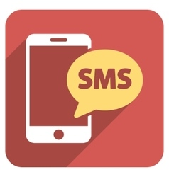 Phone SMS Flat Rounded Square Icon with Long vector image