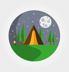 tent in the forest logotype recreation in nature vector image