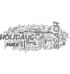 Beach holidays text word cloud concept vector