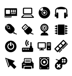Computer Icons Set on White Background vector image vector image
