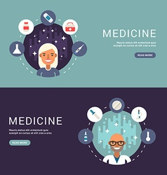 Flat Design Concept for Web Banners Medical Icons vector image