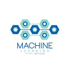 flat machine learning logo design computer vector image vector image