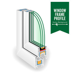 Plastic window frame profile energy efficient vector