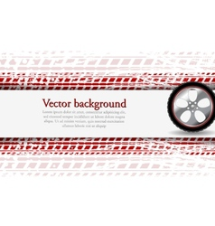 Wheel and grunge tire track Abstract vector image vector image