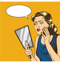 Woman looks at the mirror in vector image