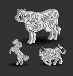 Cow Bull Horse Floral Decorations vector image