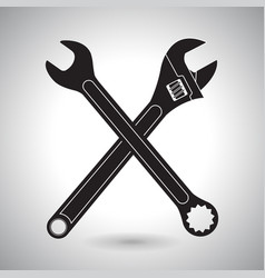 crossed wrenches black silhouette signs vector image