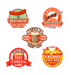 fast food meal snacks icons set vector image