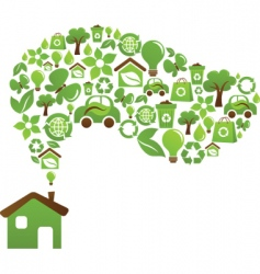 Green House icons vector image vector image