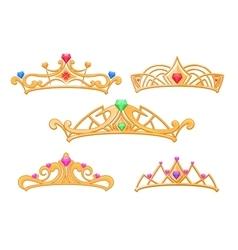 princess crowns tiaras with gems cartoon vector image