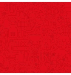 Red Grill Menu Line Tile Pattern vector image