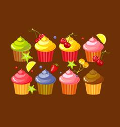 set fruit cupcakes vector image