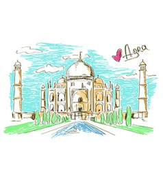 Taj Mahal in Agra vector image