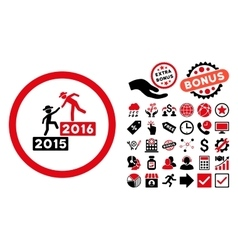 2016 Business Training Flat Icon with Bonus vector image