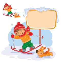 A little boy skiing vector
