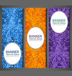abstract banners set with colorful pixel vector image