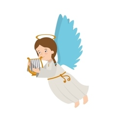 angel harp lyre play musical instrument icon vector image