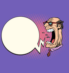 Angry boss screaming giant head vector