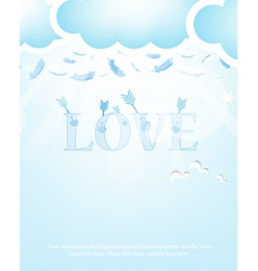 Arrow and Love Feathers from the skyBlue vector image