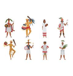 Aztec tribe people ancient civilization set vector