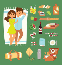 Barbecue summer picnic lie man and woman lovely vector