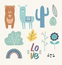 Bear and llama cartoon design vector