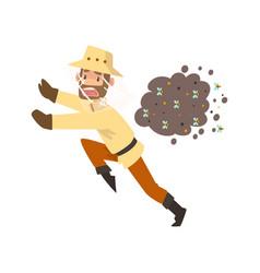 Beekeeper man running away from a swarm bees vector