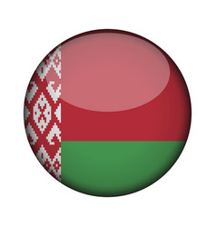 belarus flag in glossy round button of icon vector image