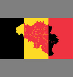 Belgium national flag with administrative regions vector