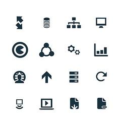 Big data database icons set vector