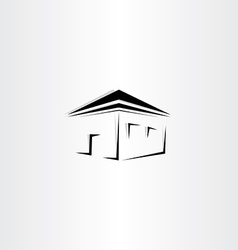 Black perspective house icon vector