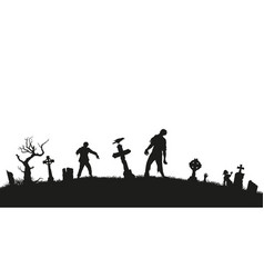 Black silhouette of zombies on cemetery background vector