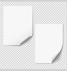 blank paper mockups two empty paper sheets vector image