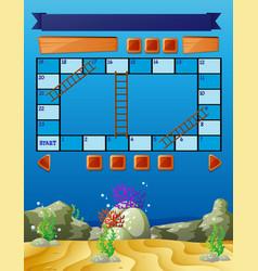 Boardgame template with underwater scene vector