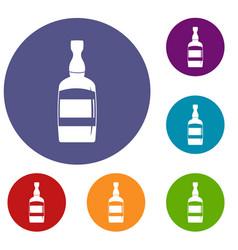 brandy bottle icons set vector image