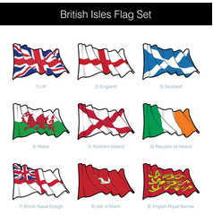 british isles waving flag set vector image
