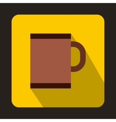 Brown tea mug icon in flat style vector