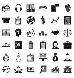 business and finance icons set simple style vector image