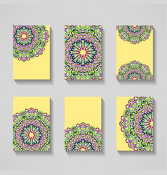 business cards template with decorative mandalas vector image