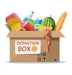 Cardboard box full food vector
