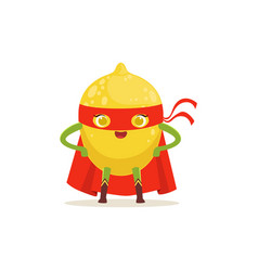 Cartoon character of superhero lemon with arms vector