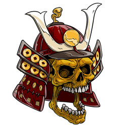 cartoon golden skull in japanese samurai helmet vector image